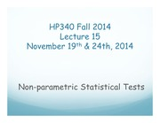 HP340 Lecture 15 - Nonparametric Tests(1)