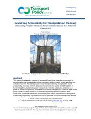 EVALUATING ACCESSIBILITY FOR TRANSPOERTATION PLANNING