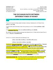 HANDOUT NO. 7 Econ 4201 2015 Spring Semester  The Exchange-Ratio Between Two Kinds of Money  03-30-2