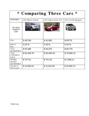 Comparing Three Cars