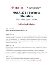 MGCR 271 Fall2014 Problem Set 2 Solutions
