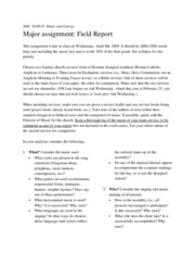 Field Report assignment
