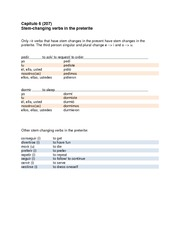 Notes on stem changing and irregular verbs in the preterite