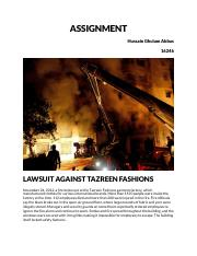 Lawsuit against fire in a factory