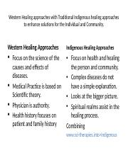 Western Healing approaches with Traditional Indigenous healing approaches.pptx