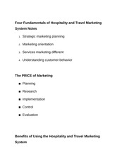 Four Fundamentals of Hospitality and Travel Marketing System Notes