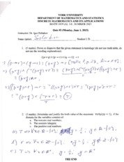 MATH 1019 Quiz 2 Summer 2015