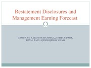 Restatement Disclosures and Management Earning Forecast