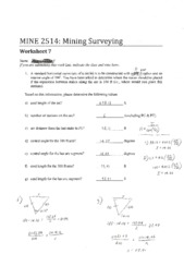 MINE 2514 Worksheet 7