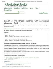 Length of the largest subarray with contiguous elements _ Set 2 - GeeksforGeeks