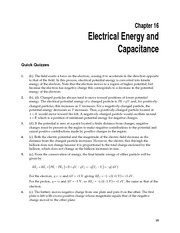 CH16 Electrical Energy and Capacitance