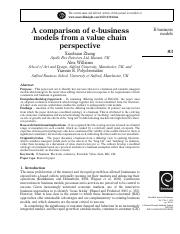 A comparison of e‐business models from a value chain perspective