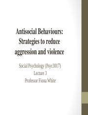#3 Reducing Violence & Aggression