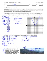 Quiz Solution on Basic Graphing with Fomrulas and Inequalities