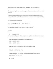 Quiz 2 delta G, K and Temp dependence answers 2013