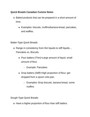 Quick Breads Canadian Cuisine Notes