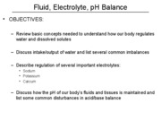 Fluid, Electrolyte, pH Balance