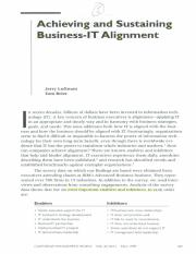 Achieving and Sustaining Business-IT Alignment