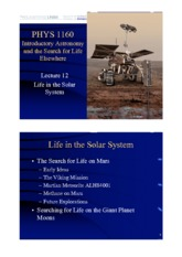 Lecture 12 — Life in the Solar System