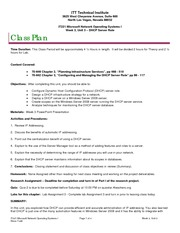 IT221 Class Plan, Week 3, Unit 3