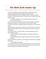 The Birth of the Atomic Age