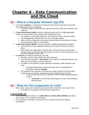 BCIS 3610 - Basic Information Systems - Textbook Chapter 6 - Data Communication and the Cloud - Clea