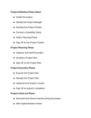Project Definition Phase Notes