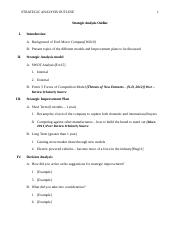 MG601 Strategic Analysis Paper Outline - Team 1