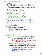 3.5 NOTES   Solve Polynomial EQ by Factoring  includes Multiplicities