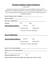 Permission Slip for Lab Change13-French