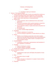 Reading Notes Chapter 1-3 - Chem 120