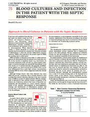 25 Blood Cultures and Infection in the Patient with the Septic Response