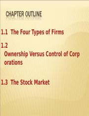 FIN 611 Chapter 1 Types of Firms Stock Market Agency Lecture Notes