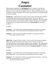 Angry Customer Role Play docx - Angry Customer With a partner