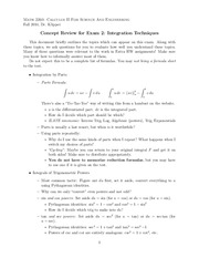 Concept Review for Exam 2- Integration Techniques