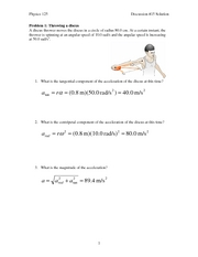 Centripital and Tangential Acceleration answers