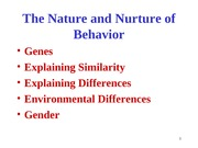 Chapter 3 -  The Nature and Nurture of Behavior (Genetics)