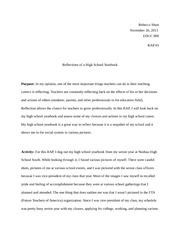 """Reflections of a Highschool Yearbook"" Essay EDUC 800"