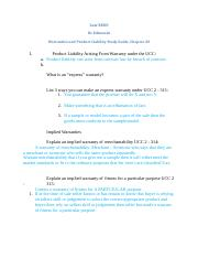 Chapter 22 Study Guide, Warranties and Product Liability S14.docx