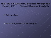 Lecture Monday 211 - Rudiments of Financlal Statement Analysis