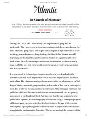 In Search of Monster Article
