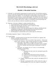 NR110.203 Microbiology Module 5 Outline