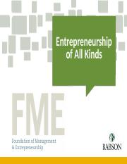 Entrepreneurship of All Kinds LB Spring 2016