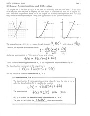 Section 3.9 Linear Approximations and Differentials Notes