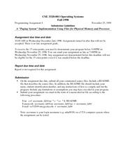 Lecture Notes H on Operating Systems