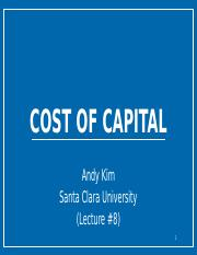 Lecture #8 (Cost of Capital)