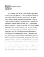 ib english macbeth world lit paper nikki maher ib english  2 pages ib reflection paper macbeth