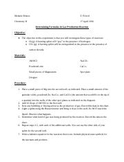 Determining Formulas in Gas Production Reaction