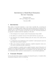Introduction to Model-Based Estimation