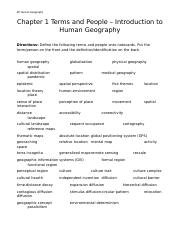 APHG Chapter 1 terms and people Intro to Human Geography.docx
